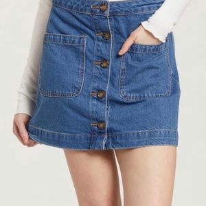 NEW Free People High Rise Button Down Denim Skirt